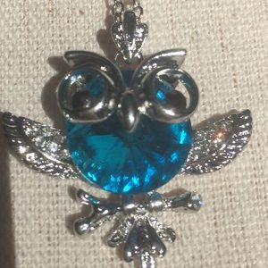 "Jewelry - Blue CZ Owl Pendant With 18"" Chain"